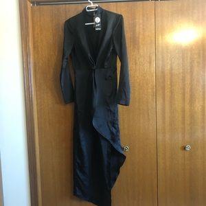 Silk black wrap maxi dress